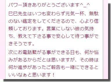 巳巳先生の口コミ(言葉にしない彼の気持ち教えてくださる事で安心して待つことが出来そうです。)